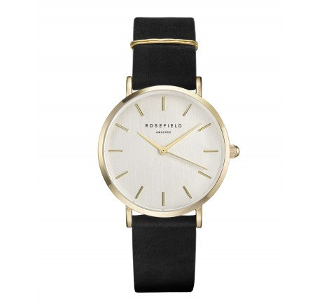 Rosefield 'The West Village' Vintage Brushed Dial, Black & Yellow Gold Watch - WBLG-W71