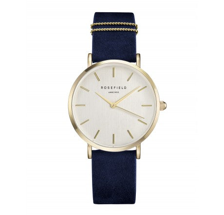 Rosefield 'The West Village' Vintage Brushed Dial, Velvet Blue & Yellow Gold Watch - WBUG-W70
