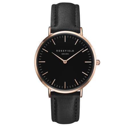 Rosefield 'The Bowery' Black Dial & Rose Gold Watch - BBBR-B11