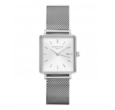 Rosefield 'The Boxy' White Sunray Dial Silver Mesh Watch - QWSS-Q02