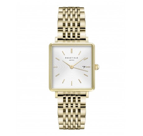 Rosefield ' The Boxy' White Sunray Gold Steel Watch - QWSG-Q09