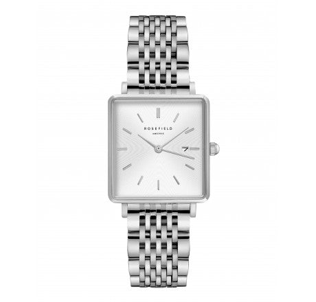 Rosefield 'The Boxy' White Sunray Silver Steel Watch - QWSS-Q08