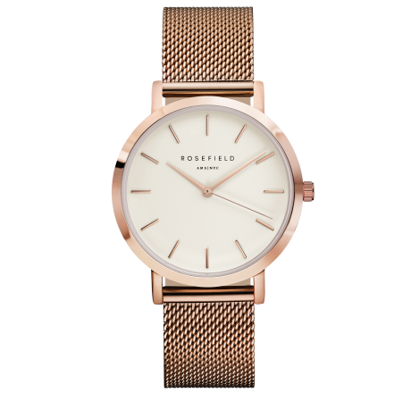 Rosefield 'The Mercer' White Dial & Rose Gold Watch - MWR-M45