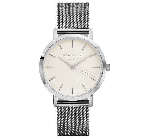 Rosefield 'The Mercer' White Dial & Silver Mesh Watch - MWS-M40