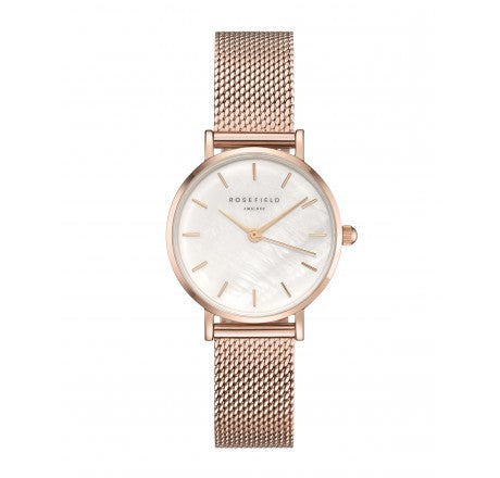 Rosefield 'The Small Edit' White Dial & Rose Gold Mesh Watch - 26WR-265
