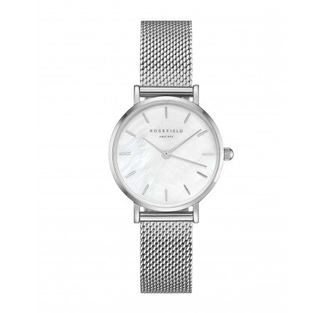 Rosefield 'The Small Edit' White Dial & Silver Mesh - 26WS-266