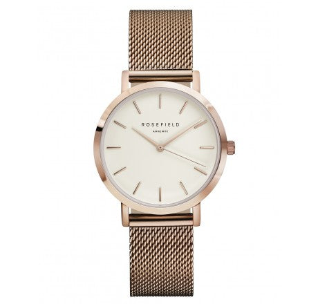 Rosefield 'The Tribeca' White Dial & Rose Gold Mesh Watch - TWR-T50