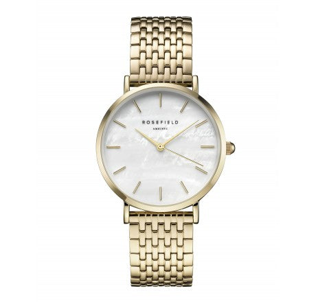 Rosefield 'The Upper East Side' White Pearl Dial & Yellow Gold Watch - UEWG-U21