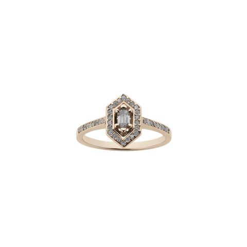 Meadowlark Sacred Engagement Ring - 9ct Rose Gold & Grey Diamond