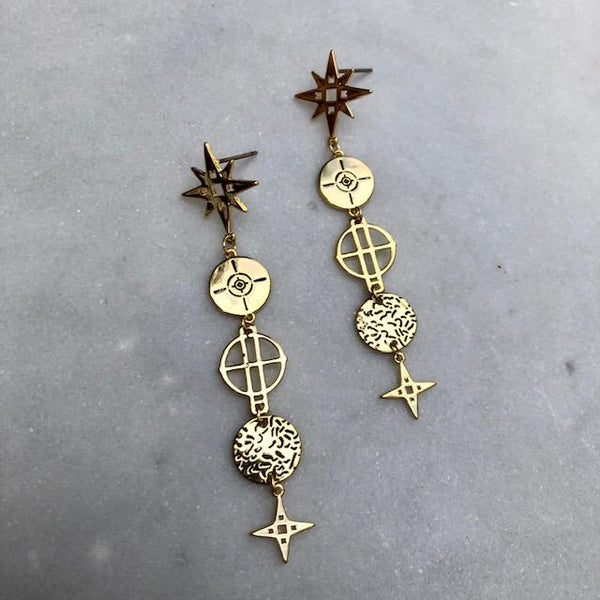 Lindi Kingi Star Drop Earrings - Gold Plate