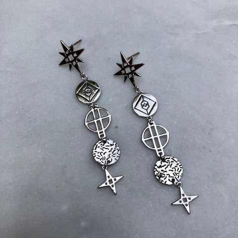 Lindi Kingi Star Drop Earrings - Platinum Plate