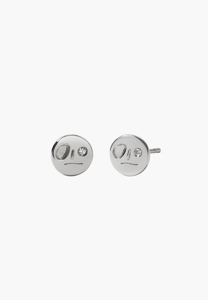 Meadowlark - Miro Stud Earrings With Stones - Silver - Reclaimed White Diamond