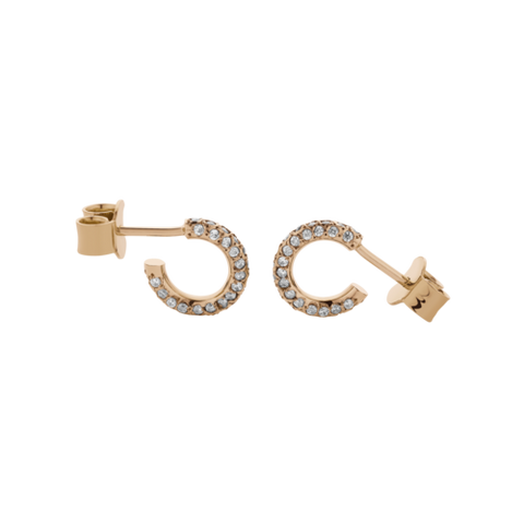 MEADOWLARK SMALL TABOO HOOPS - 9CT ROSE GOLD & WHITE DIAMOND