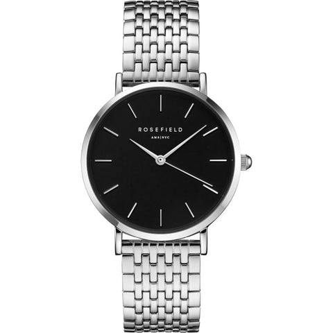 Rosefield 'The Upper East Side' Black Dial Silver Watch - UEBS-U25