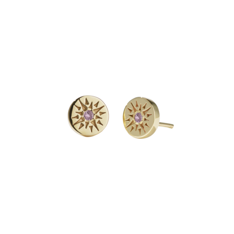 Meadowlark Ursa Studs Stone Set - Gold Plated - Pink Tourmaline