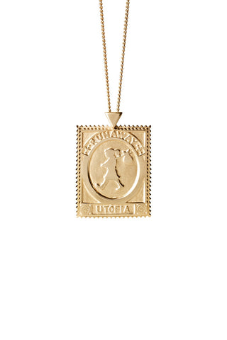 Karen Walker Utopia Stamp Necklace - 9ct Yellow Gold