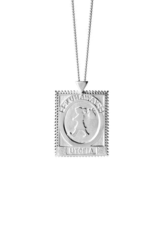 Karen Walker Utopia Stamp Necklace - Sterling Silver 60cm