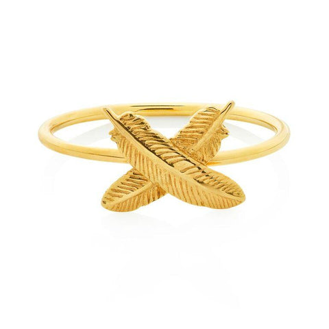 Boh Runga Feather Kisses Ring - 9ct Yellow Gold , Size M