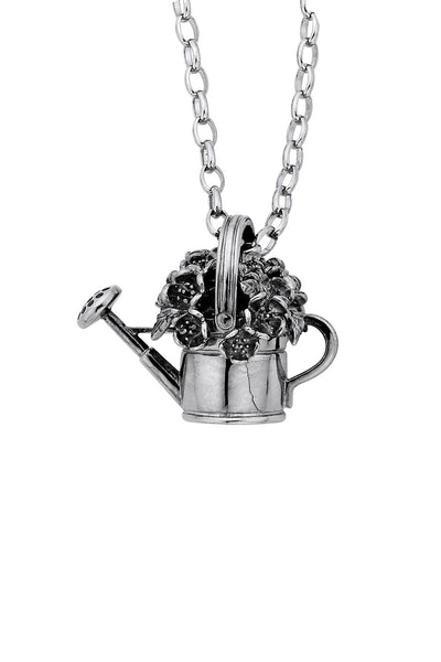 Karen Walker Botanical Watering Can With Flowers Pendant - Silver
