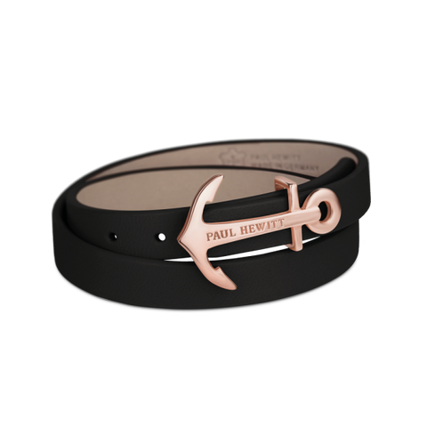 Paul Hewitt NORTH BOUNDS Wrap Bracelet North Bound IP Rose Gold Black