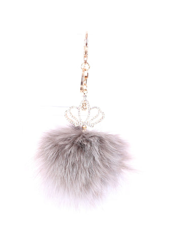 GREY FUR CROWN KEYCHAIN