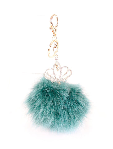 TURQUOISE FUR CROWN KEYCHAIN