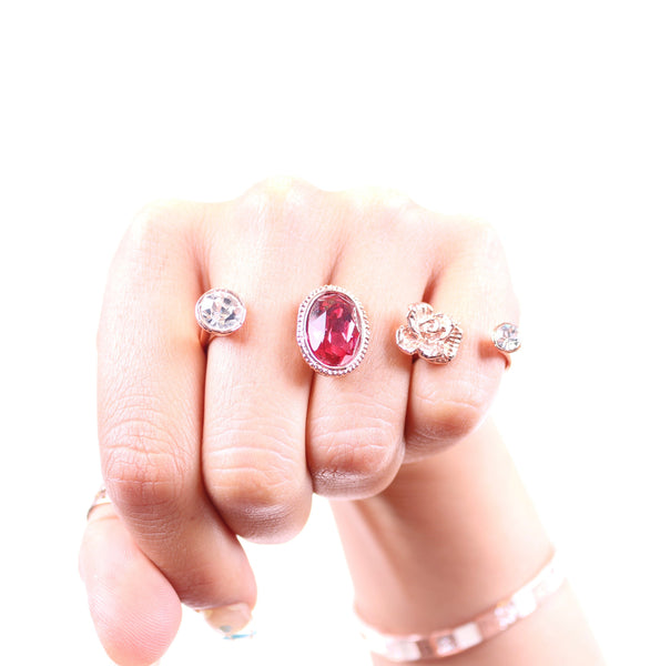 Red Crystal Knuckle Ring