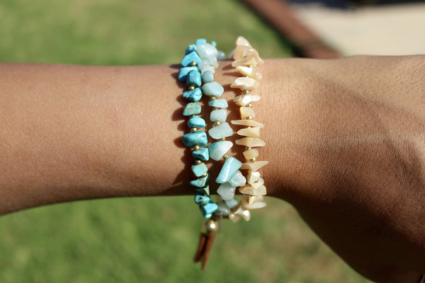 Triple Bead Beach Bracelet