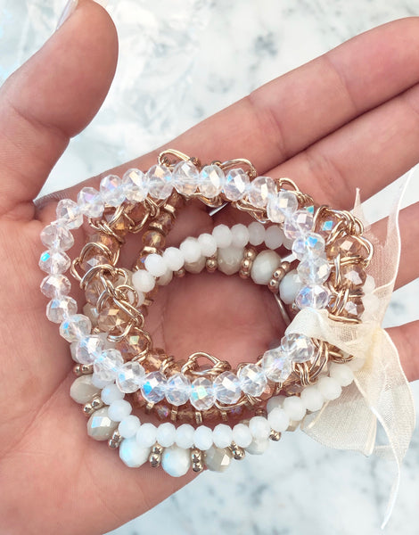 Sparkle Beaded Bracelets White