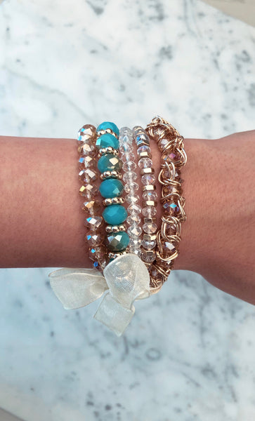 Sparkle Beaded Bracelets Blue