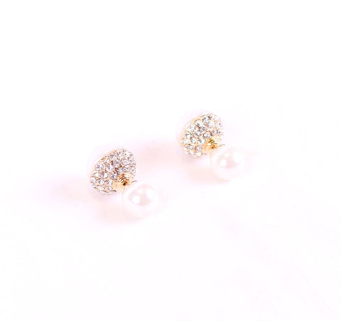 Crystal Double sided Pearl Studs