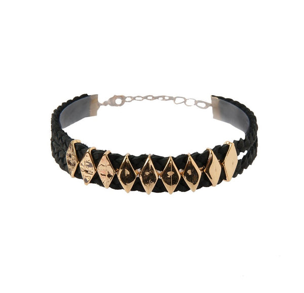 Gold on Black Choker