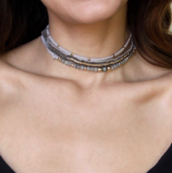 GREY MATTER CHOKER IN GREY AND GOLD