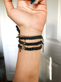 NEW! Tie Up Wrap Bracelet in Black and Brass