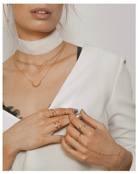 ORION GOLD & MARBLE WRAP CHAIN RINGS