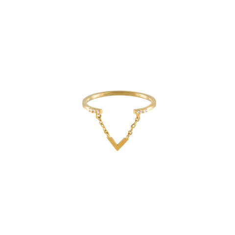 ASTRID V PAVE GOLD RING