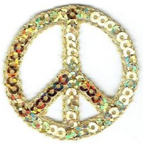 "Peace Sign Applique Patch - Sequin, Gold Hippie Badge 1.5"" (Iron on)"