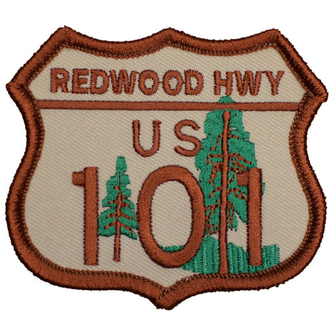 "Highway 101 Patch - California, CA Redwoods, Sequoia Badge 2-7/8"" (Iron on)"