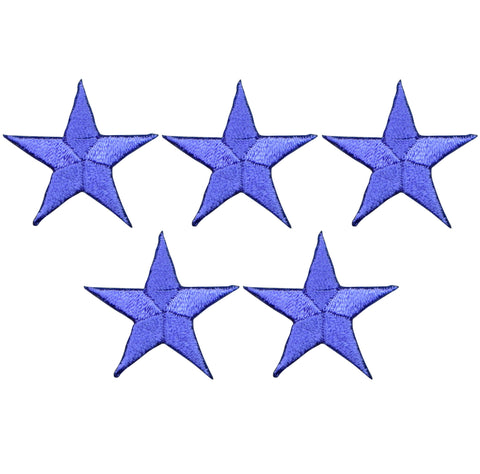 "Star Applique Patch - Purple 1.25"" (5-Pack, Small, Iron on)"