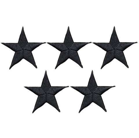 "Star Applique Patch - Black 1.5"" (5-Pack, Iron on)"
