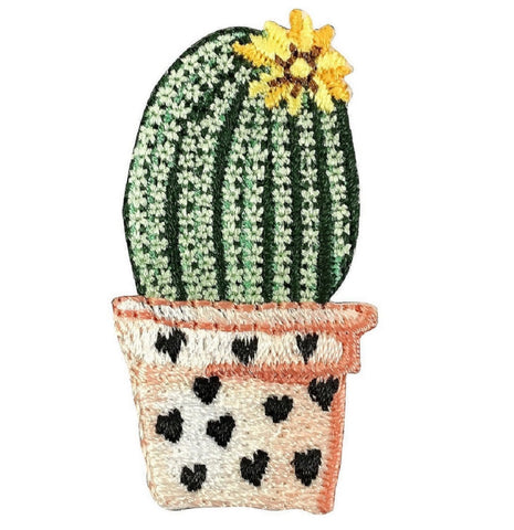 Cactus Applique Patch - Barrel Cactus, Hearts, Yellow Flower (Iron on)