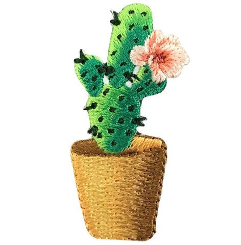 Cactus Applique Patch - Saguaro, Pink Flower (Iron on)