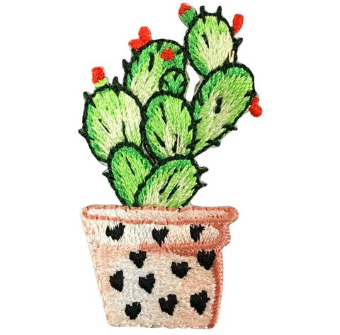 "Cactus Applique Patch - Hearts, Red Flower 1-7/8"" (Iron on)"
