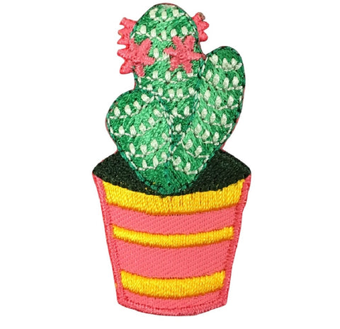 Cactus Applique Patch - Saguaro, Pink Flowers (Iron on)