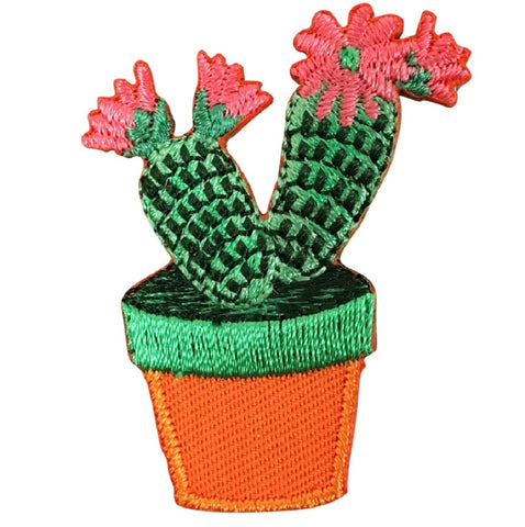 "Cactus Applique Patch - Pink Flowers 1.75"" (Iron on)"