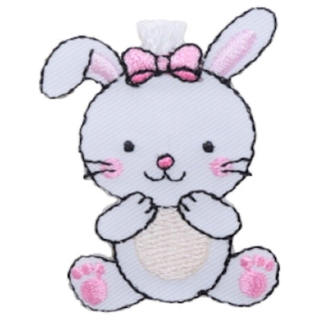 "White Bunny Rabbit Applique Patch - Pink Bow, Baby Cottontail 1.75"" (Iron on)"