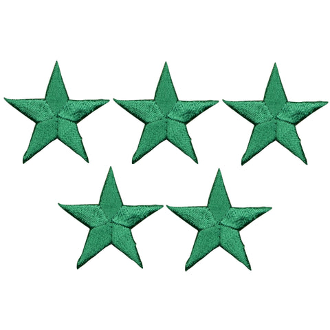 "Star Applique Patch - Green 1.25"" (5-Pack, Small, Iron on)"