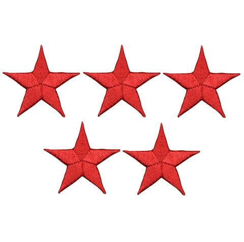 "Star Applique Patch - Red 1.5"" (5-Pack, Iron on)"
