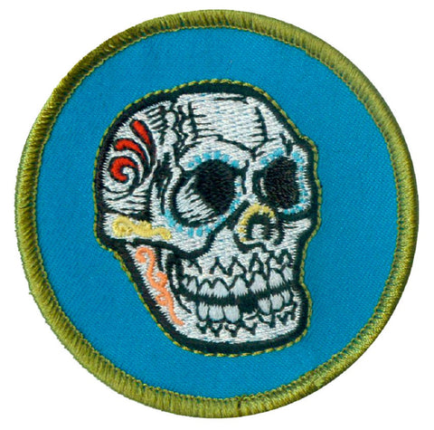 "Sugar Skull Applique Patch - Halloween Badge 2-5/8"" (Clearance, Iron on)"