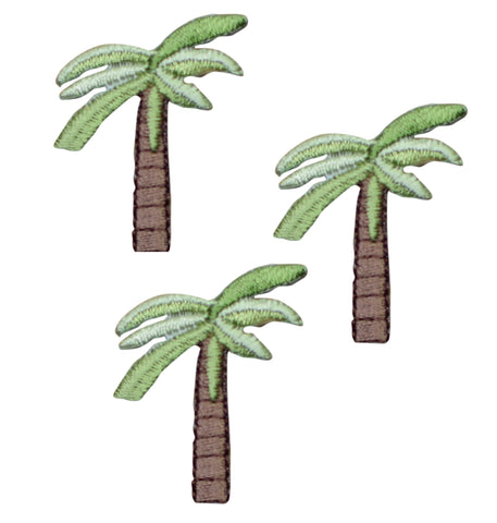 Tropical Palm Tree Applique Patch (3-Pack. Small, Iron on)